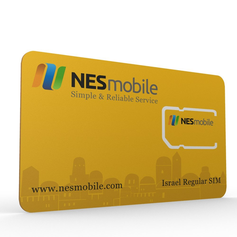Israel SIM Card - Regular Size - Available From NES Mobile ★ Cellcom Cellular Network Coverage ★ You Must Signup with NesMobile Online in Order to Activate the Israel SIM Card - SIM card has no value unless you sign up for a plan with NesMobile ★ Daily & Monthly UNLIMITED CALLS & DATA Plans