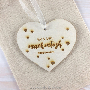 Personalised Wooden Love Heart Christmas Tree ornament