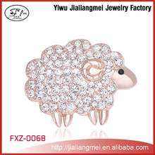 Wholesale gold clear crystal sheep pin brooch animal pins brooches