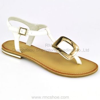 Flat Fancy Metal Ornement Pu Sole Sandals