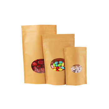 Custom Printed Small Brown Kraft Paper Stand Up Pouches Bag With Window And Zipper
