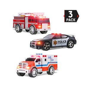 3-in-1 True Hero Vehicles Kids Toy Cars Play Set | 3-Button LED Light & Sound Effects (Emergency Vehicles)