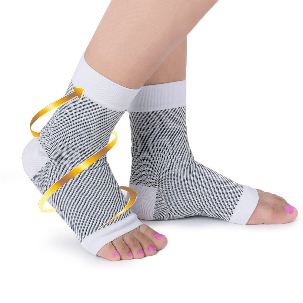 27ef7fef07 Get Quotations · EagleUS 1 Pair Open Toe Foot Compression Ankle Sleeves  Anti Fatigue Circulation Ankle Swelling Ache Relief