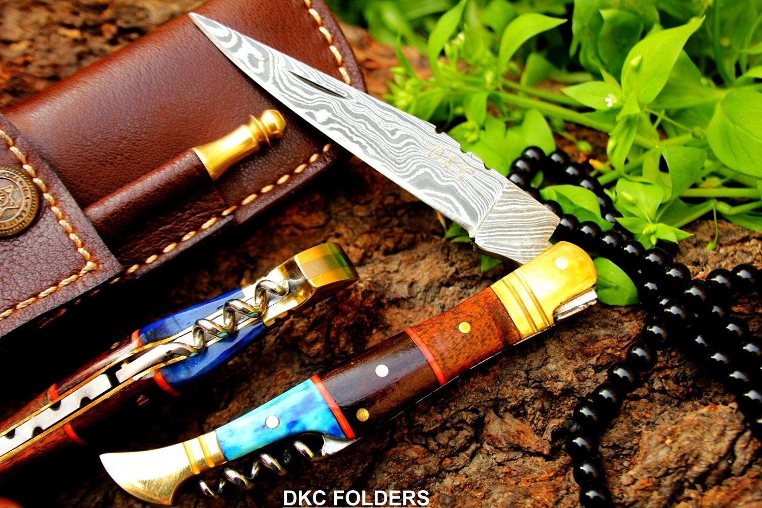 "(18 5/18) SALE DKC-55 BLUE SQUIRE (Brass Bolster) Damascus Steel Pocket Folding Laguiole Style Pocket Knife 4.5"" Folded 8"" Long 2.5oz oz High Class Looks Incredible Hand Made DKC Knives"