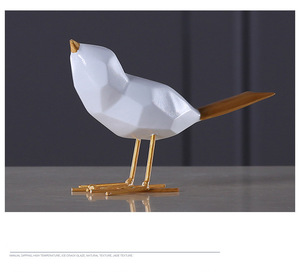 Simple modern black and white bird resin home decoration ornaments animal crafts