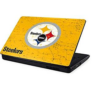 NFL Pittsburgh Steelers Inspiron 15 & 1545 Skin - Pittsburgh Steelers - Alternate Distressed Vinyl Decal Skin For Your Inspiron 15 & 1545
