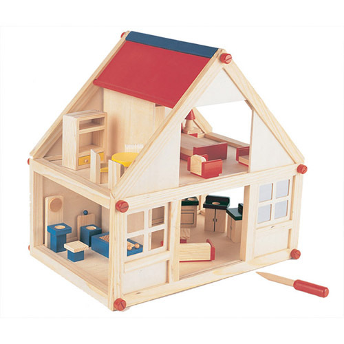 Amazing Classic Natural Wooden Doll House With Furniture