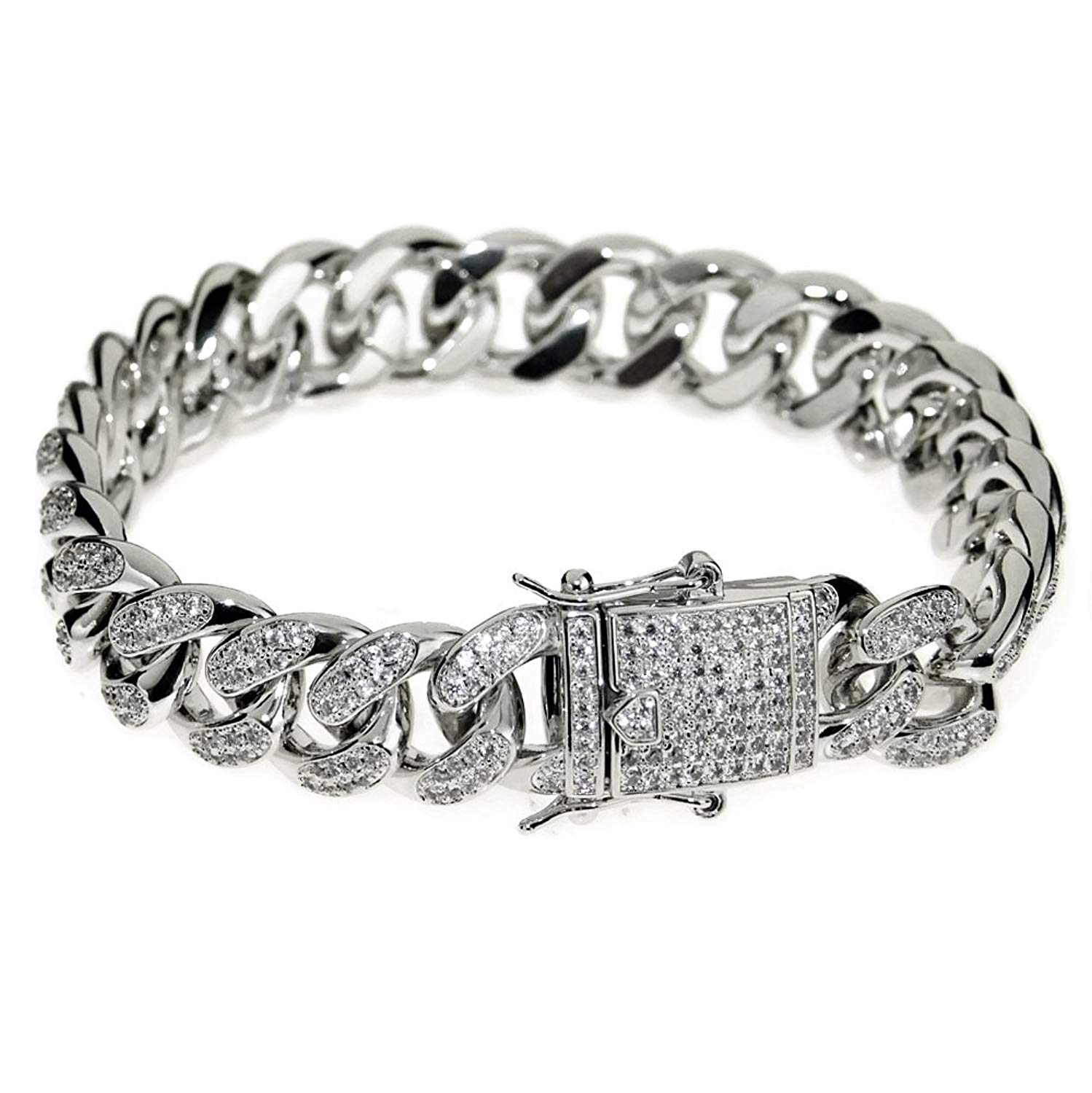"Mens 14k White Gold Plated Cuban Bracelet Hip Hop Iced Out AAAA CZ Full Stone Bling Links 8"" x 12MM"