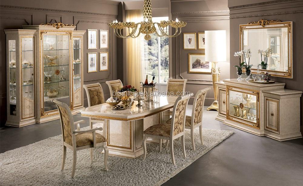 europenne royal classique carr table manger avec panneau latral et vitrineeuropenne de luxe