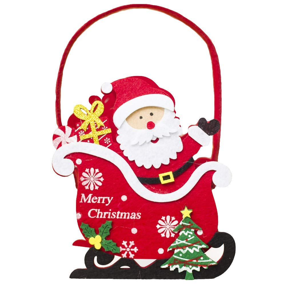 "Slendima 5.51"" x 6.69"" Lovely Christmas Kids Candy Gift Basket Santa Claus/Snowman/Deer/Bear Table Ornament Santa Claus"