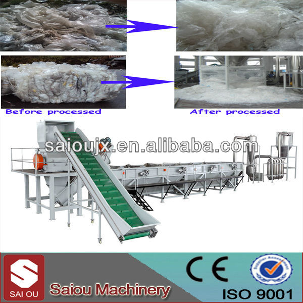 Polyethylene recycling and washing machine