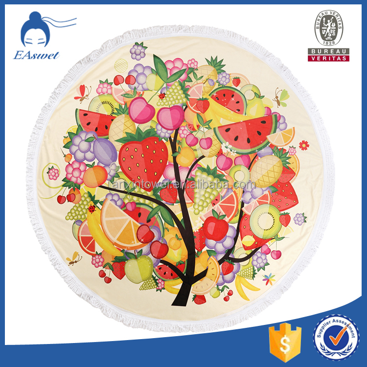 china supplier christmas fruits design active print custom made print round beach towels wholesale with tassels
