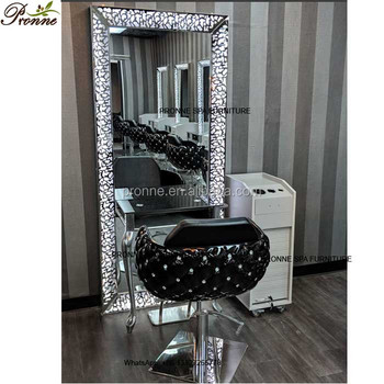 barber shop hair salon styling chair fiberglass black salon chair with mirror
