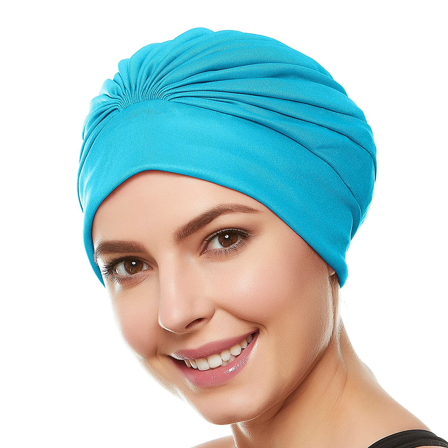 67641f92a86 Beemo Women's Swim Bathing Cap Turban – Polyester Latex Lined Pleated for  Women & Girls Long
