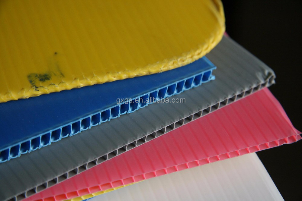 UV stablized corrugated corflute coroplast plastic twin wall fluteboard correx hollow water bottle layer pads sheet