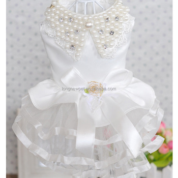 White Dress Doggie Clothes Pearl Collar Wedding Dresses for Dog