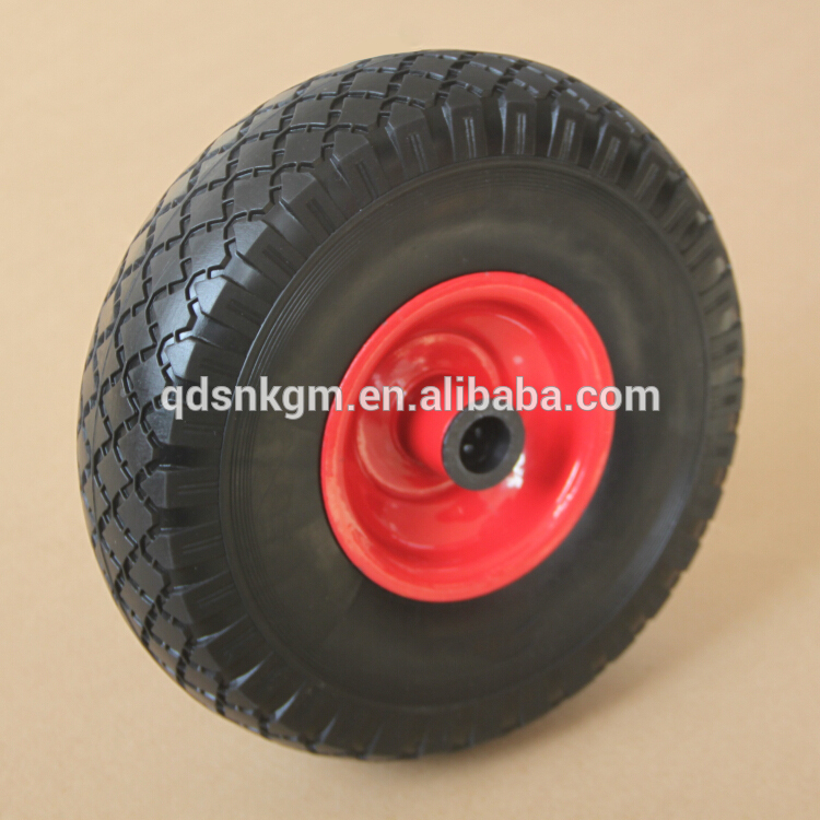 24 Inch PU Solid Wooden Hand Cart Wheels