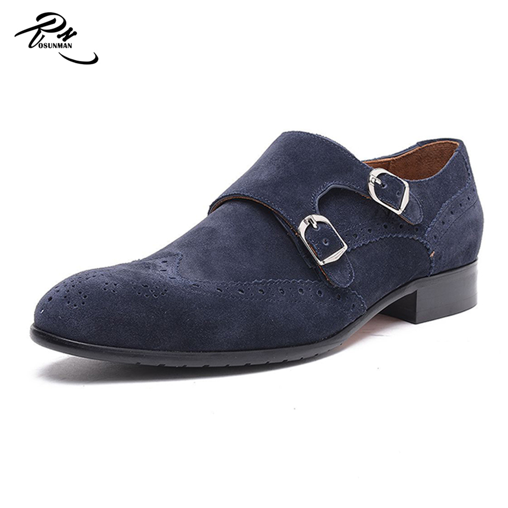 monk Pure double suede men leather shoes strap made dress wqCqRxI