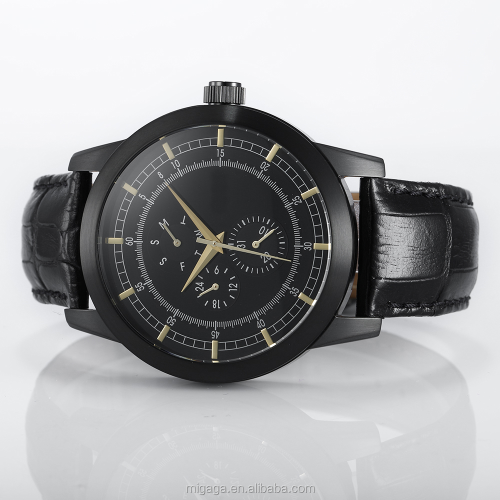 Hot Sale Fashionable Date And Week Display Quartz Watch Genuine Leather Strap