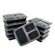 Plastic BPA Free Takeaway Disposable Food Storage Meal Prep Containers Microwave 3 Compartment Lunch Bento Box for Kids