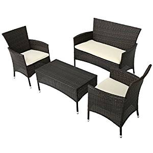 """Outdoor Patio Furniture 4 Piece wicker Set Seating Group Cushions Chair Legs 8""""Hx1.5""""Wx1.5""""D Table 16.3""""Hx34.25""""Wx17.7""""D seat 32.87""""Hx42.91""""Wx24.4""""D Weight 62lbs Polyester 90-day manufacturer warranty"""