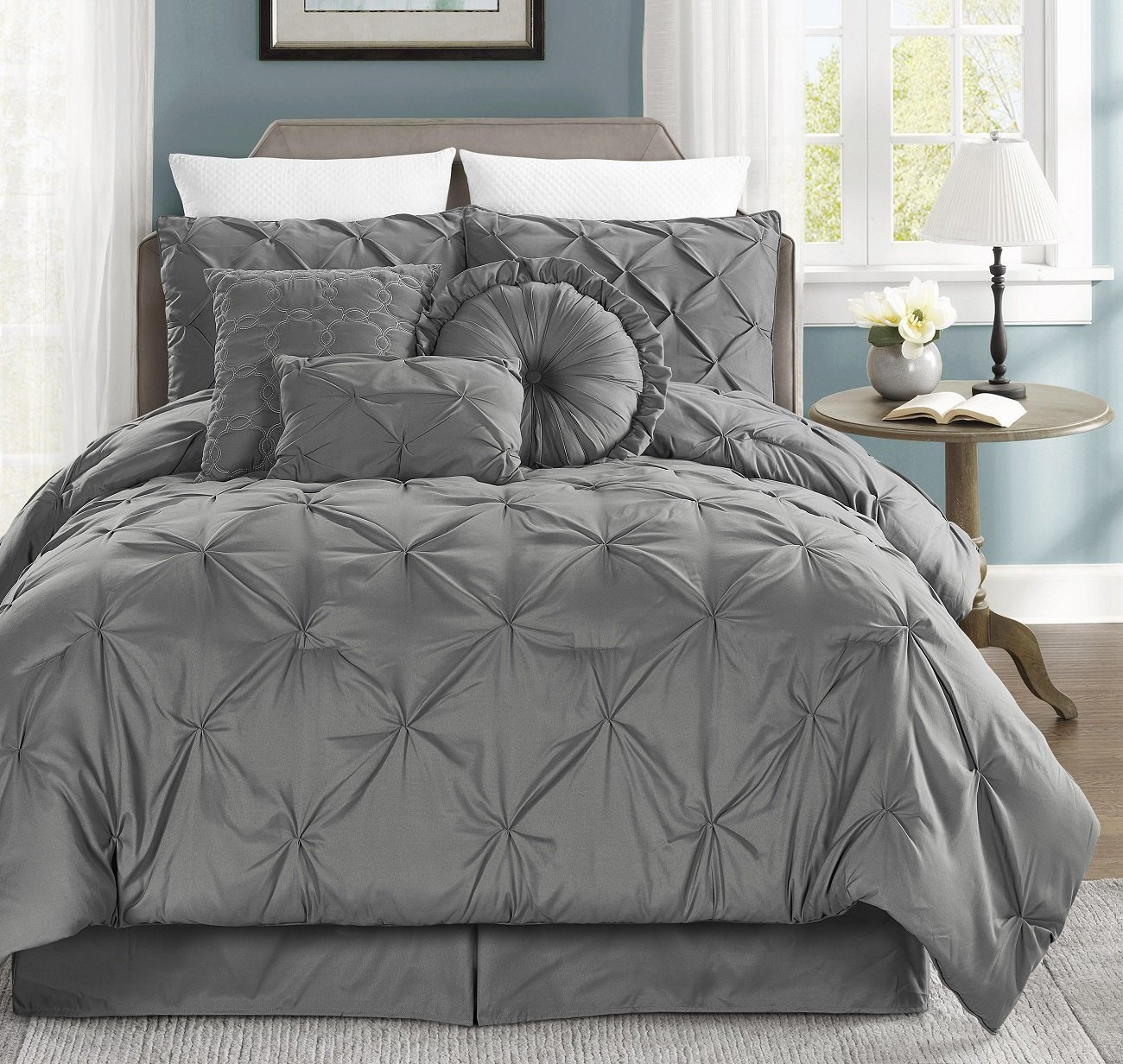 Chezmoi Collection Sydney 7-piece Pintuck Bedding Comforter Set (California King, Gray)