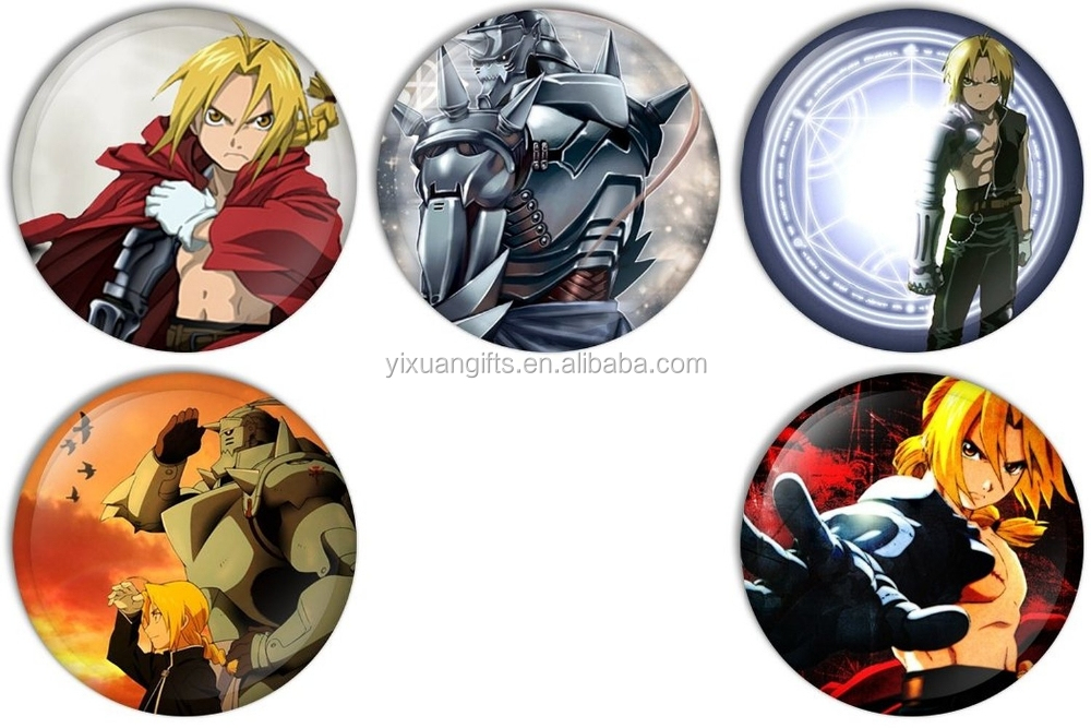 Fullmetal Alchemist Cartoon Pinback Buttons Badges/Pin 1 Inch (25mm) Set of 5 New