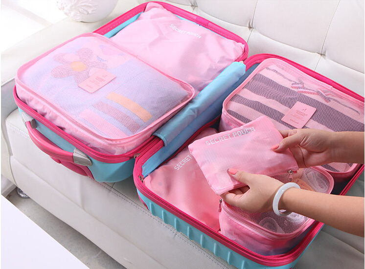 6 Pieces Set Travel Ng Organizer Bag Mesh Cubes For Washing Clothes Underwear Storage