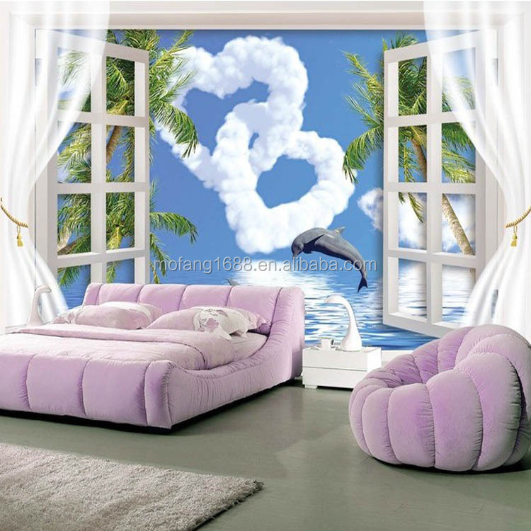 Modern Fiber 3D Window Mural Wall Paper for commerce/Living Room superior quality/ Fond d'ecran 3D