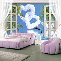 Modern Fiber 3D Window Mural Wall Paper for commerce/Living Room superior quality/ Fond d'ecran 3D