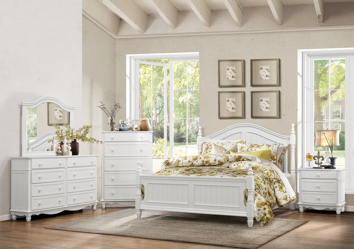 Get Quotations · Calgary 5 Piece Eastern King Bedroom Set In White