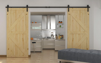 Double Pine Interior Wood Barn Door Slab With Bronze Sliding Door Hardware