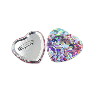 Lovely Anime Heart Shaped Pin Badge Hologram Tin Badges In Specialty Paper