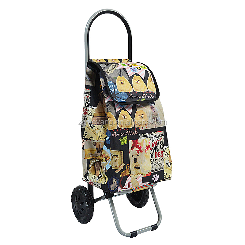 YY-26E-6 Wholesale higg quality handle grocery rolling reusable fabric foldable shopping cart