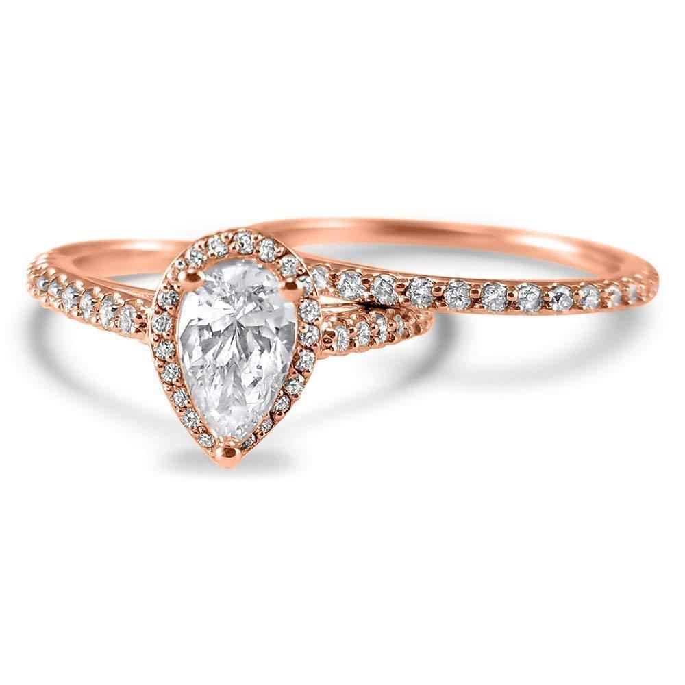0440ba196 Get Quotations · Pear shape halo Diamond and Moissanite engagement ring set  Wedding Set 14k Rose Gold engagement ring