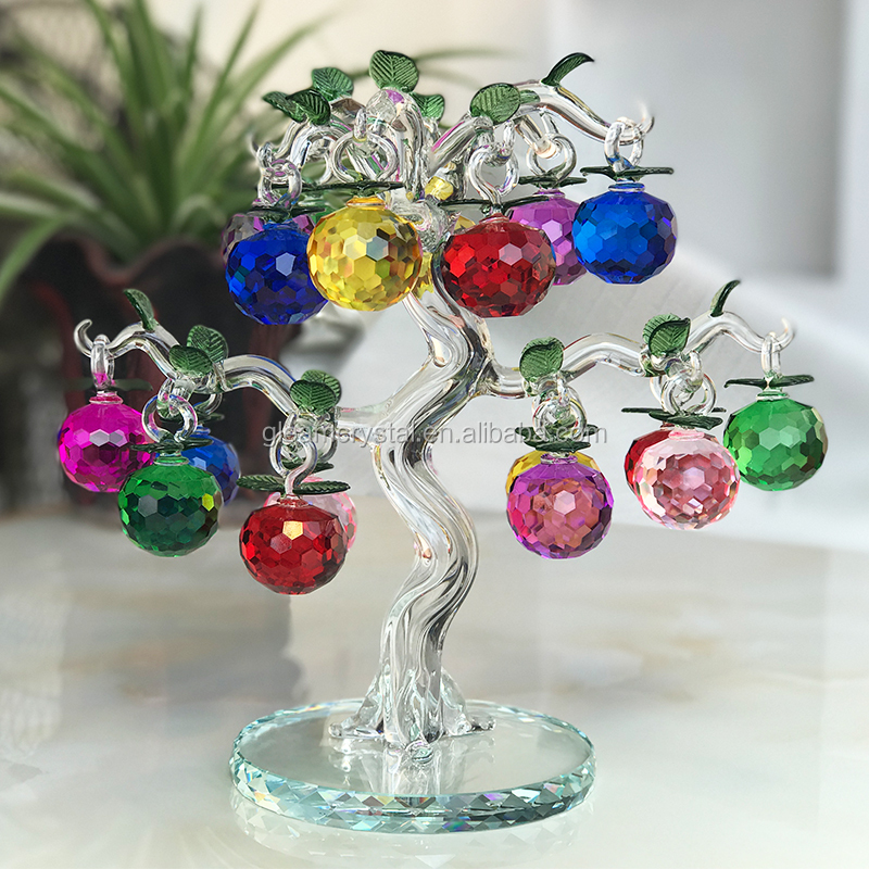 China Artifical K9 Crystal Apple Tree with colorful apple