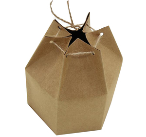 Solid color folding package hexagon kraft paper gift boxes