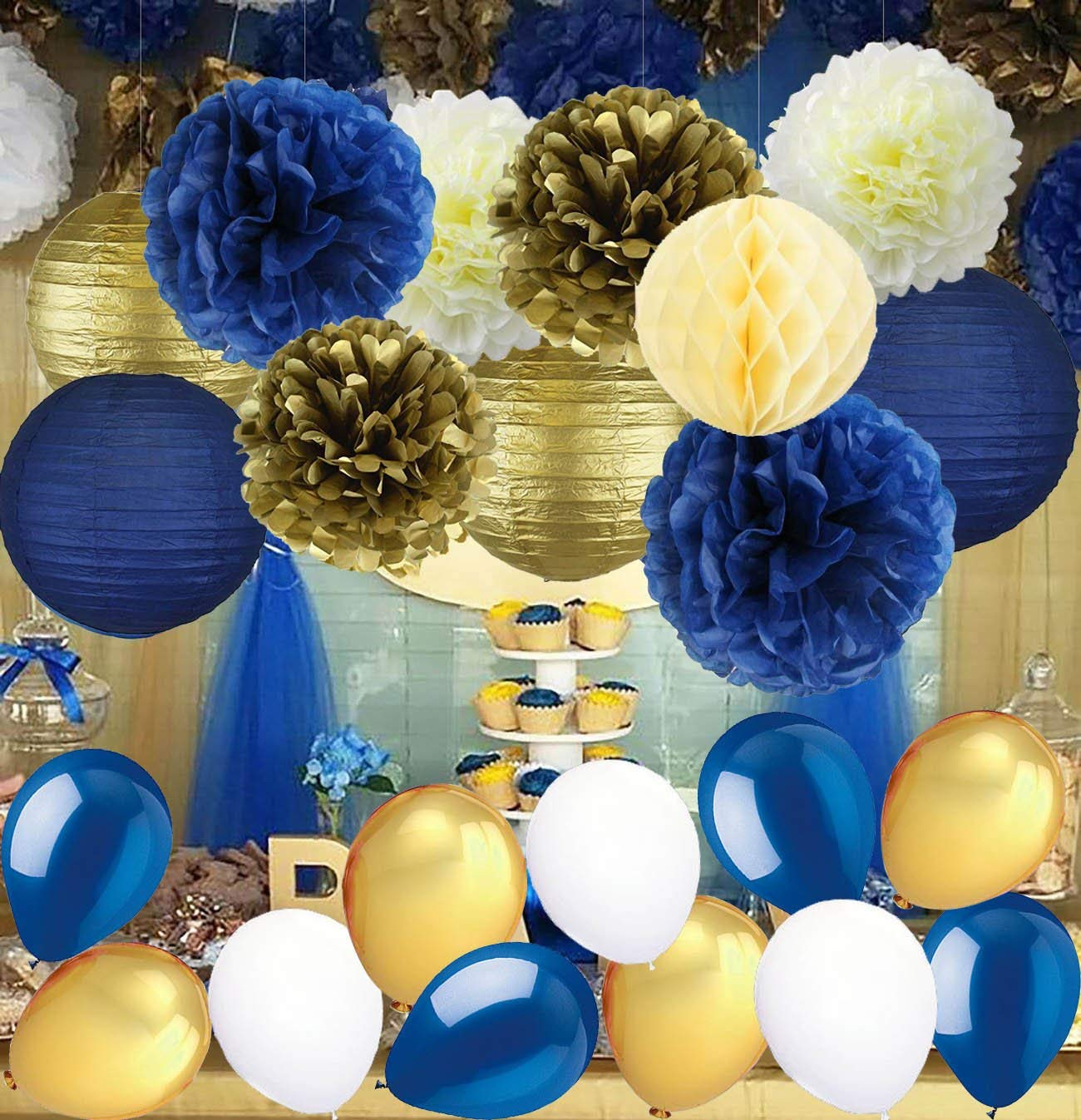 Get Quotations Navy Blue Wedding Decorations Tissue Paper Pom Poms Lanterns With Balloons Kit For Birthday Party