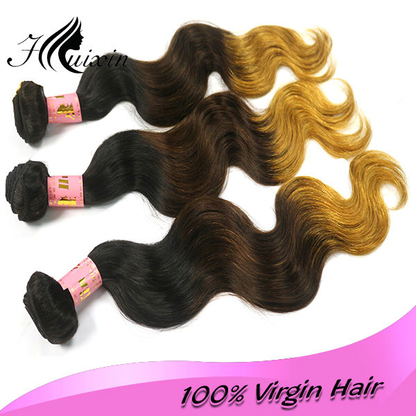 colored three tone hair weave 7A grade unprocessed human virgin ombre hair Brazilian body wave