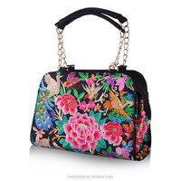 High quality cheap handbag for women peacock embroidered handbag