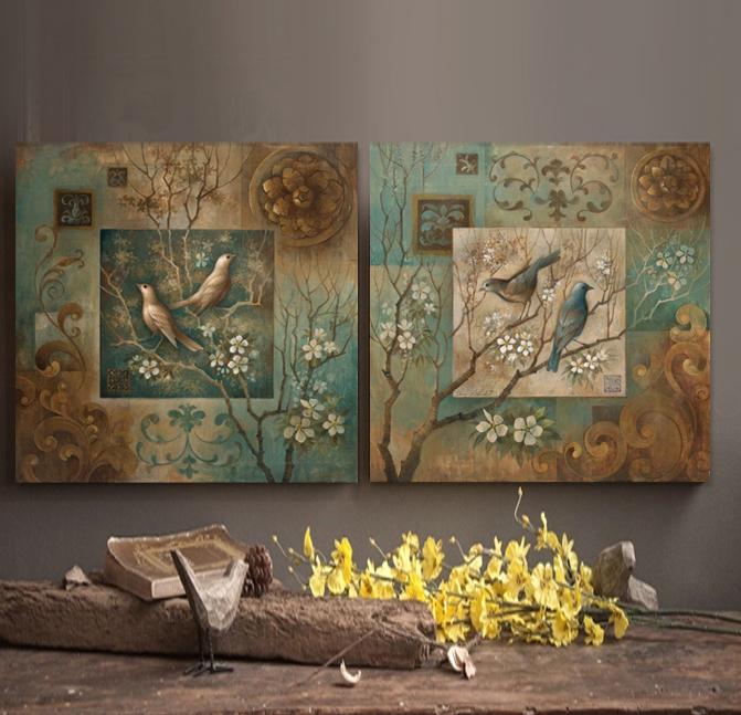 Home Interiors Wall Decor: Bird Oil Painting Canvas Wall Art Home Decor Living Room
