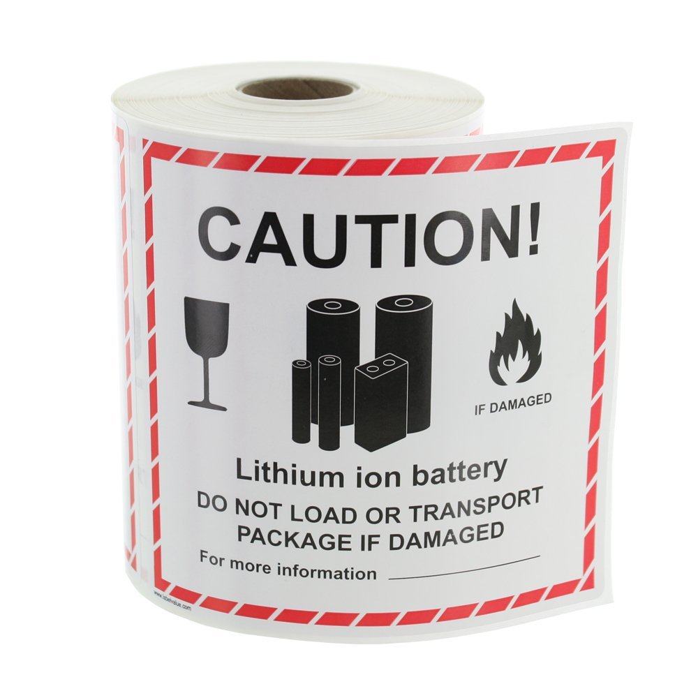 Pack of 500 Lithium Battery Handling 4 5//8 x 5 Partners Brand PDL1397 Tape Logic Labels,Caution Black//White//Red
