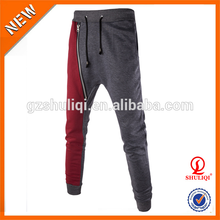 jogger sweatpants blank adult training pants two tone commando pants trousers with zip design