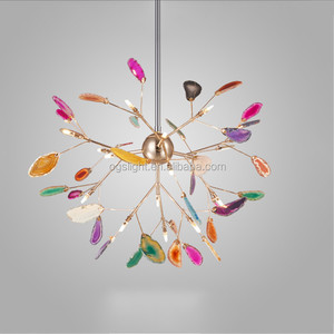 Modern style colorful agate gold LED chandelier for home hotel villa decoration