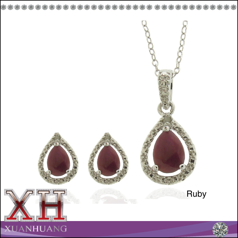 Teardrop cheap 18k gold plated sterling silver cubic zirconia gemstone and diamond jewelry set