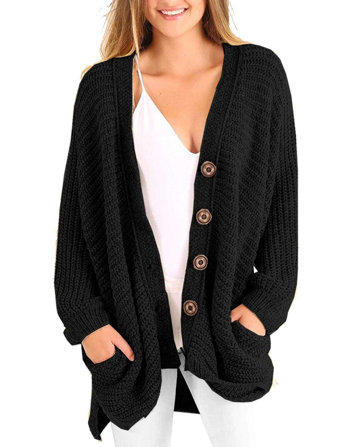 71f581fe101 Get Quotations · YSkkt Womens Plus Size Cardigan Long Cable Knit Chunky  Oversized Fall Button Sweaters with Pockets
