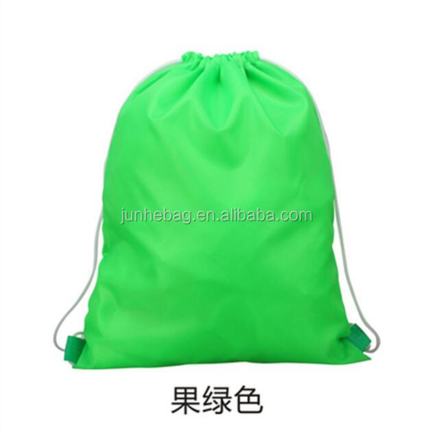 Buyer's custom logo printed lime promtional 190t nylon polyester drawstring bag