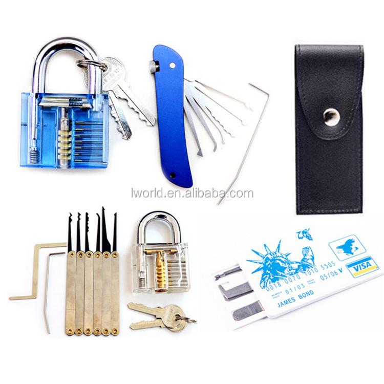 Free assorted lock pick set Unlocking lock pick tools Key Extractor Set 1pc transparent lock for practice