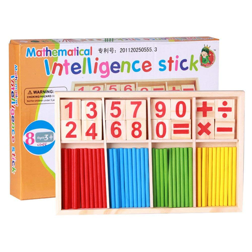 Wooden Number Cards and Counting Rods with Box Toys for Kids and Toddlers,Bright Color Counting Stick Calculation Math Educational Toy Math Manipulatives