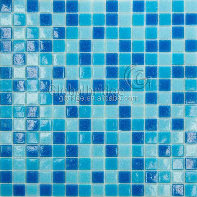 Hot blue mixture glass mosaic tile for swimming pool or bathroom